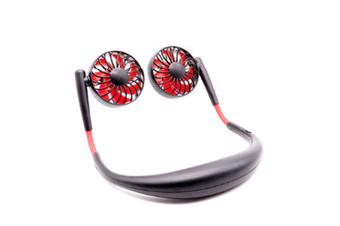 Select Mall Hand Free Portable Neck Sports Fan USB Rotatable Folding Portable 7-leaf Fan Mini Neckband Fan-Black Red
