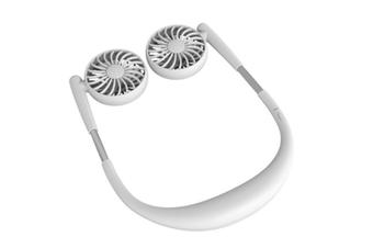 Select Mall Hand Free Portable Neck Sports Fan USB Rotatable Folding Portable 7-leaf Fan Mini Neckband Fan-White