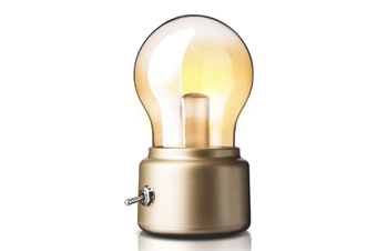 Select Mall Bedroom Retro Charging Bulb Night Light Creative Nostalgic USB Bedside Table Lamp Atmosphere Lamp-Black