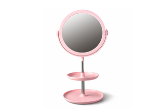 Select Mall Creative Round Double-layer Desktop Storage Cosmetic Mirror Dormitory Bedroom Storage Beauty Double-sided Mirror-Pink