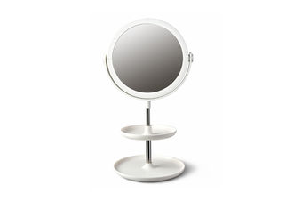 Select Mall Creative Round Double-layer Desktop Storage Cosmetic Mirror Dormitory Bedroom Storage Beauty Double-sided Mirror-White
