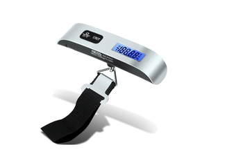 LCD Display Luggage Scale 110lb/50kg Electronic Balance Digital Postal Luggage Hanging Scale with Rubber Paint Handle,Temperature Sensor