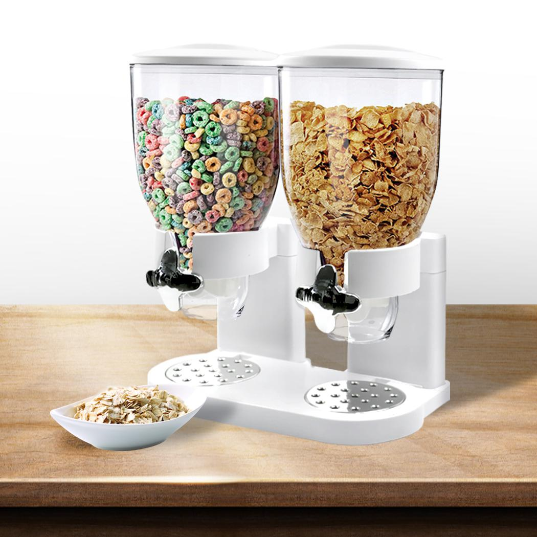 Double Cereal Dispenser Dry Food Storage Container Dispense Machine White Matt Blatt