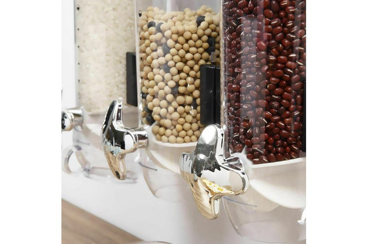 Wall Mounted Triple Cereal Dispenser Dry Food Storage Container Dispense Machine