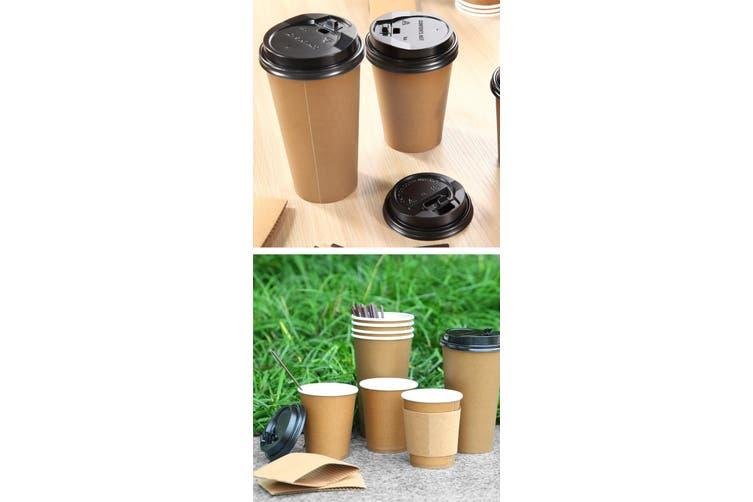100 Pcs 16oz Disposable Takeaway Coffee Paper Cups Triple Wall Take Away Lids
