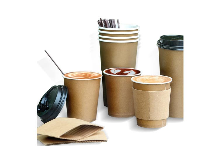100 Pcs 20oz Disposable Takeaway Coffee Paper Cups Triple Wall Take Away Lids