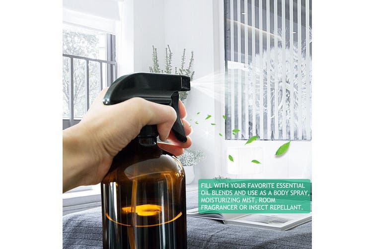 6x 500ml Amber Glass Spray Bottles Trigger Water Sprayer Aromatherapy Dispenser