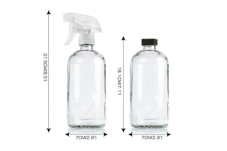 6x 500ml Clear Glass Spray Bottles Trigger Water Sprayer Aromatherapy Dispenser