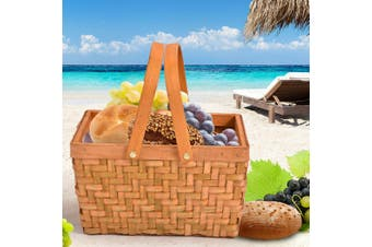 Picnic Basket Deluxe Willow Baskets Outdoor Gift Storage Person Carry Foldable