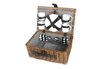 4 Person Picnic Basket Baskets Set Outdoor Deluxe Willow Gift Storage Carry