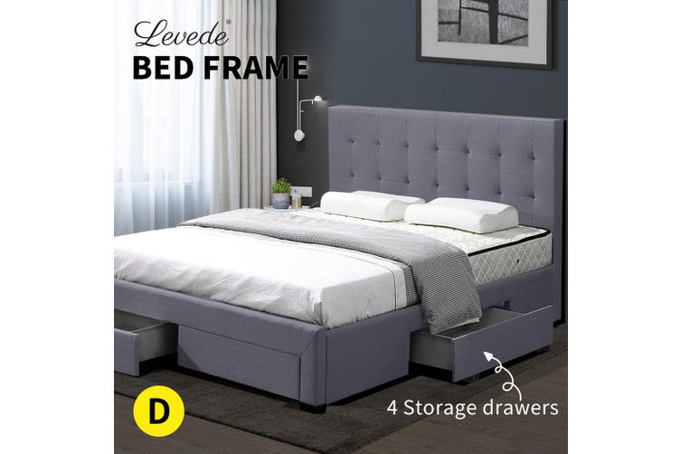 Levede Bed Frame Double Fabric With Drawers Storage Wooden Mattress Grey