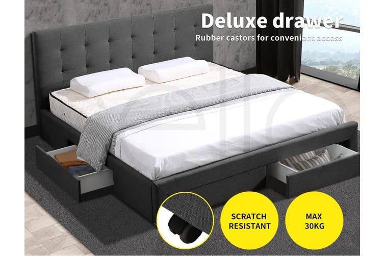 Levede Bed Frame Queen Fabric With Drawers Storage Wooden Mattress Dark Grey