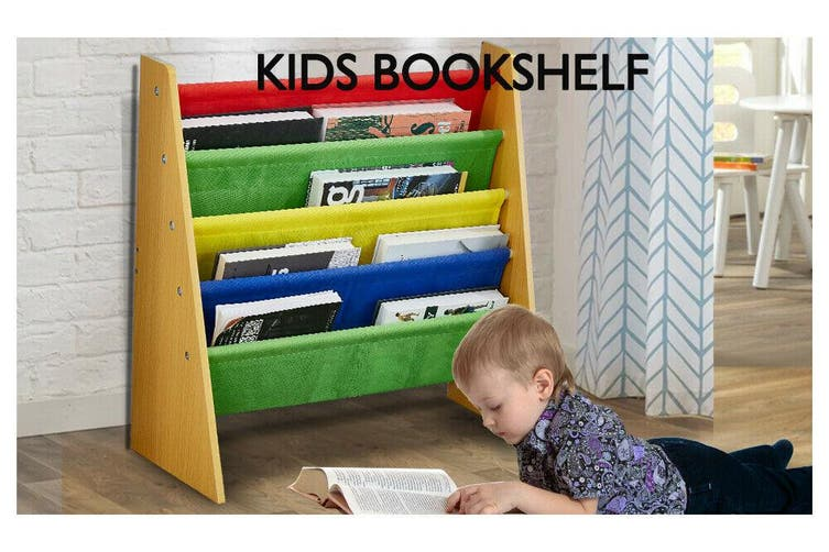 Levede Wooden Kids Children Bookcase Bookshelf Toy Organiser Storage Bin Rack