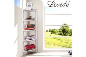 Levede 5 Tier Corner Bookshelf Storage Cabinet Bookcase Rack Organizer Display