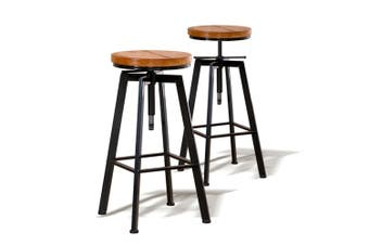 4x Levede Industrial Bar Stools Kitchen Stool Wooden Barstools Swivel Vintage