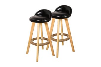 2x Bar Stools Swivel Stool Kitchen Wooden Chairs Leather Barstools Black