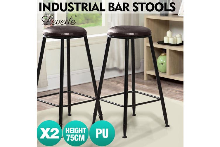 2x Levede Industrial Bar Stool Kitchen Stool Barstools Dining Chair Leather Seat