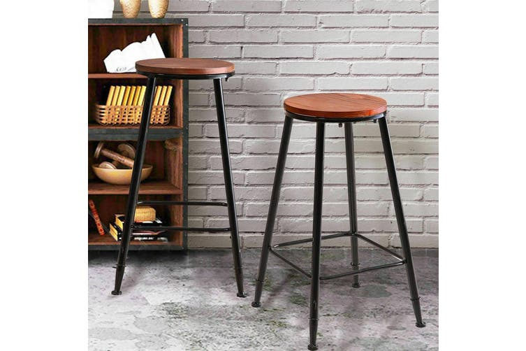 2x Levede Industrial Bar Stool Kitchen Stool Barstools Dining Chair Wood Seat