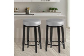 2x Levede 75cm Swivel Bar Stool Kitchen Stool Wood Barstools Dining Chair Grey