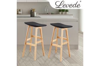 2x Levede PU Leather Swivel Bar Stool Kitchen Stool Dining Chair Barstools Black