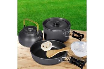 10Pcs Camping Cookware Set Outdoor Hiking Cooking Bowl Pot Pan Portable Picnic