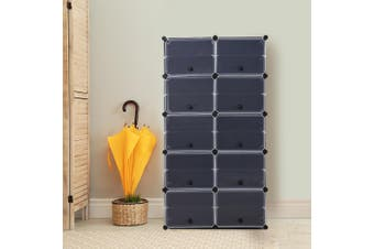 Cube Cabinet DIY Shoe Storage Cabinet Organiser Rack Shelf Stackable 10 Tier