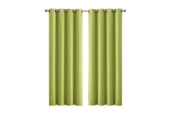 2x Blockout Curtains Panels 3 Layers Eyelet Room Darkening 140x230cm Avocado