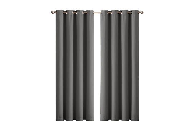 2x Blockout Curtains Panels 3 Layers Eyelet Room Darkening 140x230cm Charcoal