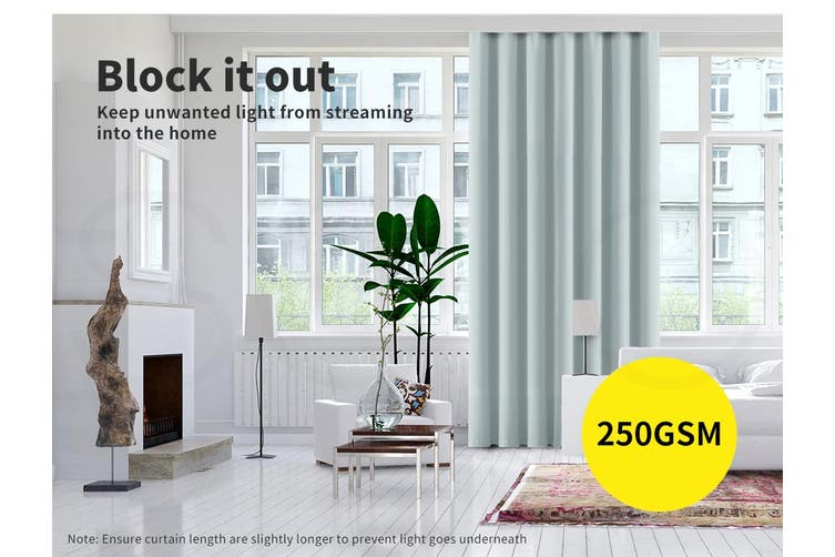 2x Blockout Curtains Panels 3 Layers Eyelet Room Darkening 140x230cm Green