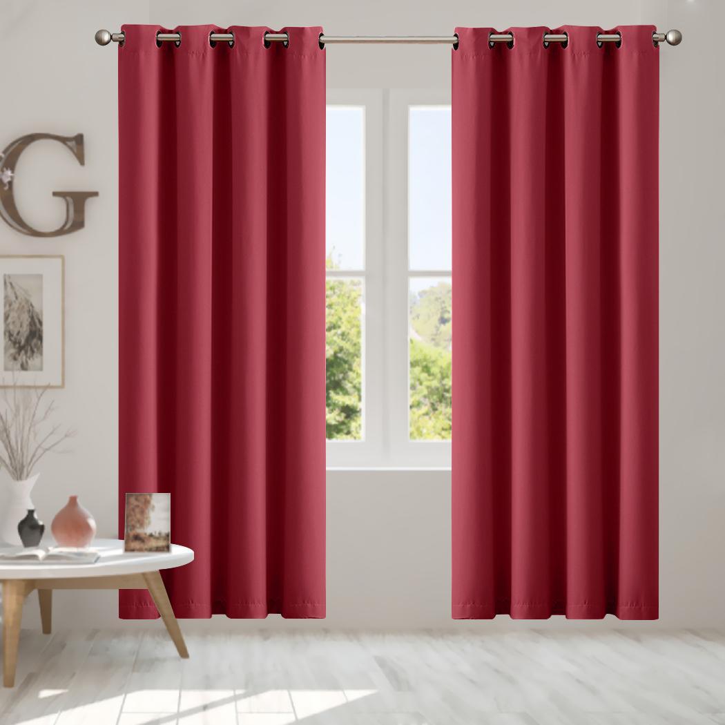 2x Blockout Curtains Panels 3 Layers Eyelet Room Darkening 140x230cm Burgundy Kogan Com