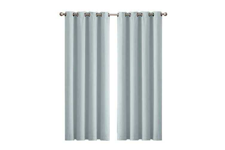 2x Blockout Curtains Panels 3 Layers Eyelet Room Darkening 240x230cm Green