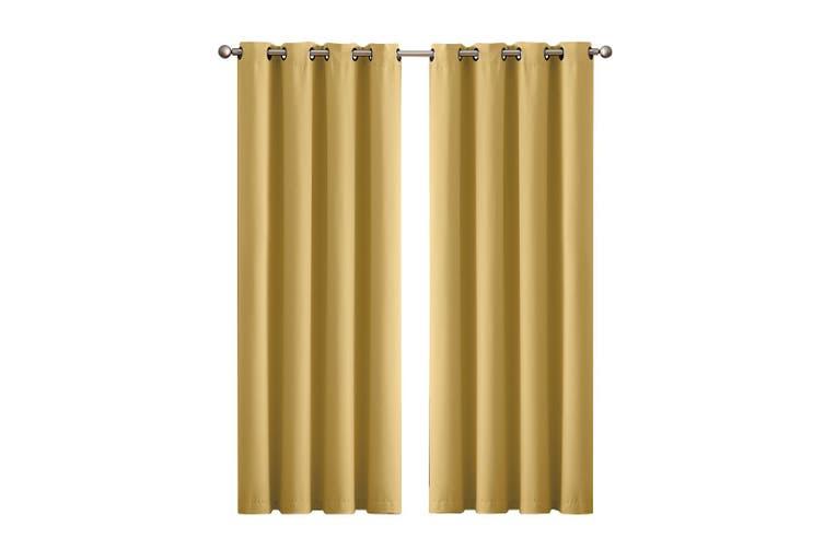 2x Blockout Curtains Panels 3 Layers Eyelet Room Darkening 240x230cm Mustard