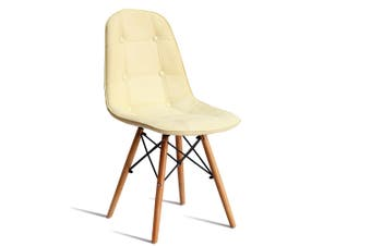 Levede 4x Retro Replica Eames PU Leather Dining Chair Office Cafe Lounge Chairs Cream