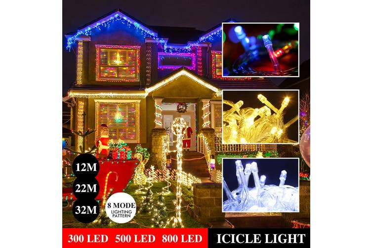 800 LED Curtain Fairy String Lights Wedding Outdoor Xmas Party Lights Warm White