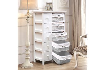 Levede Chest of Drawers Dresser Bedroom Storage Cabinet Baskets Hallway Tables