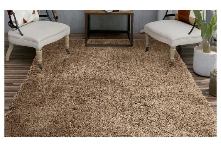 Ultra Soft Anti Slip Rectangle Plush Shaggy Floor Rug Carpet in Taupe 160x225cm