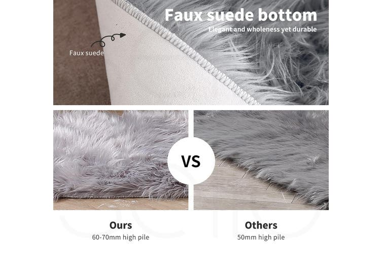 Floor Rug Shaggy Carpet Area Rugs Soft Fur Living Room Bedroom 160X230 White