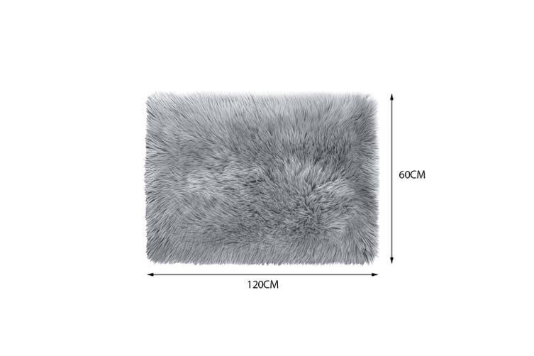 Floor Rug Shaggy Carpet Area Rugs Soft Fur Living Room Bedroom Mats 60X120 Grey