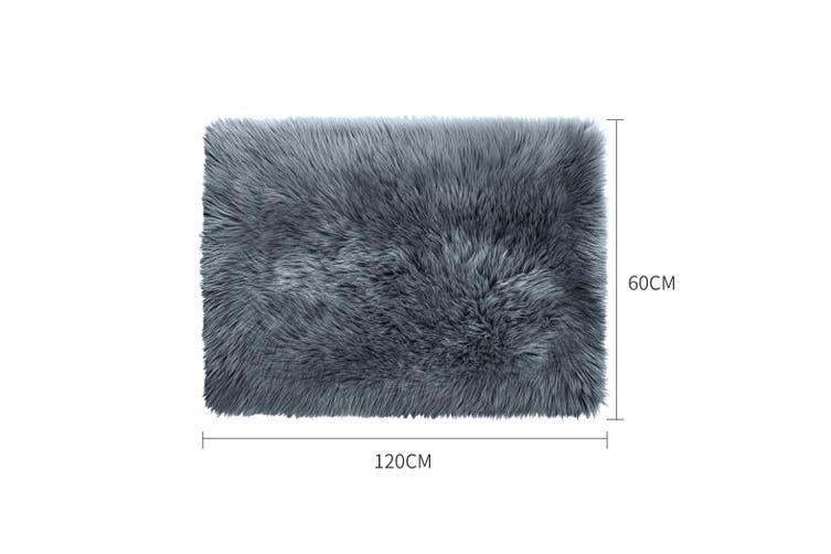 Floor Rug Shaggy Carpet Area Rugs Soft Fur Living Room Bedroom 60X120 Dark Grey