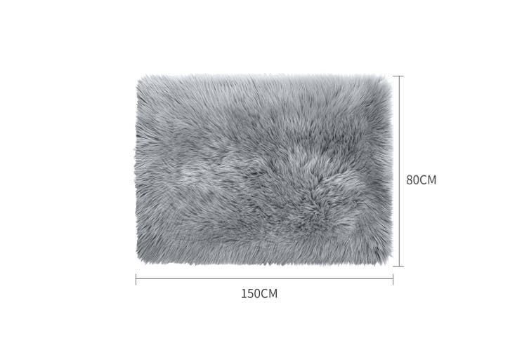 Floor Rug Shaggy Carpet Area Rugs Soft Fur Living Room Bedroom Mats 80X150 Grey