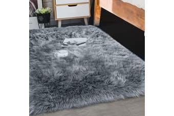 Floor Rug Shaggy Carpet Area Rugs Soft Fur Living Room Bedroom 80X150 Dark Grey