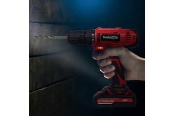 Traderight 18V Cordless Drill Driver Power Tool Kit Flap Bits Set Screw Case