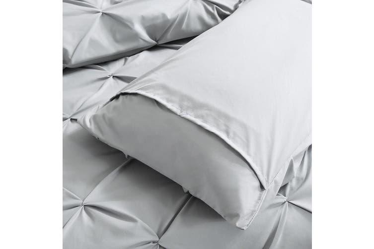 DreamZ Diamond Pintuck Duvet Cover Pillow Case Set in Double Size in Navy