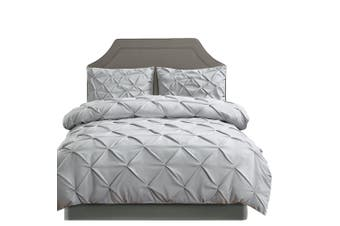 DreamZ Diamond Pintuck Duvet Cover Pillow Case Set in Full Size in Grey