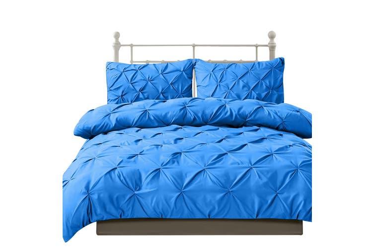 DreamZ Diamond Pintuck Duvet Cover Pillow Case Set in Full Size in Navy