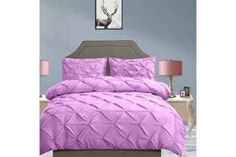 DreamZ Diamond Pintuck Duvet Cover and Pillow Case Set in UK Size in Plum Colour