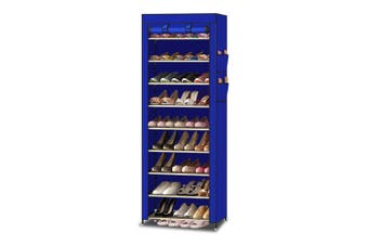 Levede 10 Tier Shoe Rack Portable Storage Cabinet Organiser Wardrobe Blue Cover