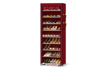 Levede 10 Tier Shoe Rack Portable Storage Cabinet Organiser Wardrobe Wine Cover Brown
