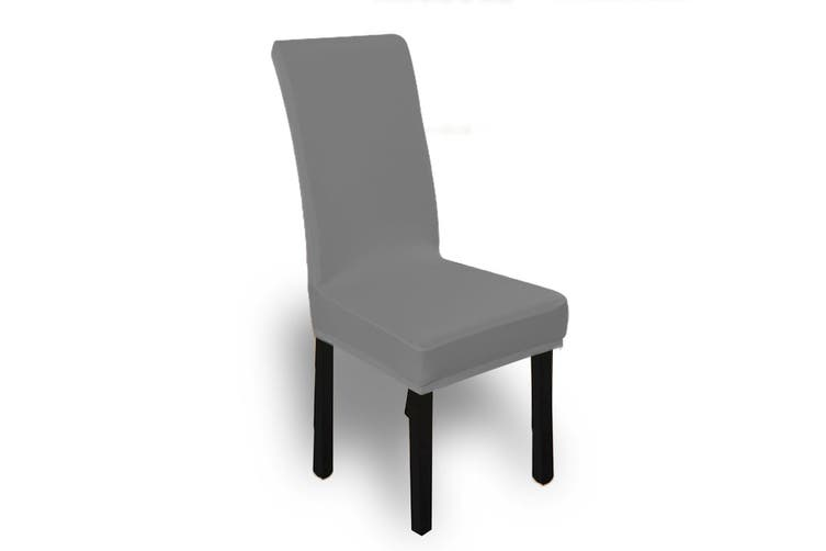 6x Stretch Elastic Chair Covers Dining Room Wedding Banquet Washable Grey