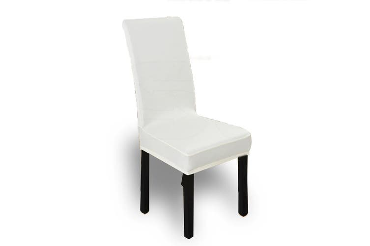 6x Stretch Elastic Chair Covers Dining Room Wedding Banquet Washable White